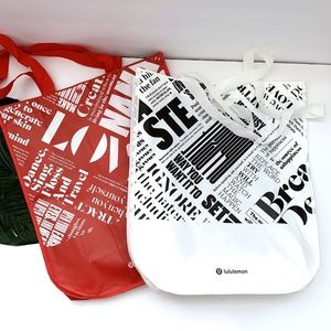 lululemon   2 Large Reusable Bags Red and White